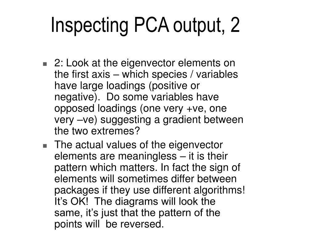 Inspecting PCA output, 2