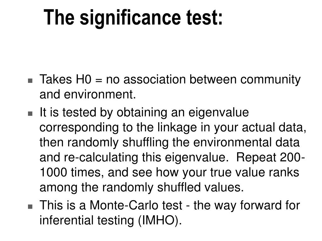 The significance test: