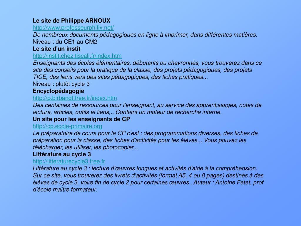Le site de Philippe ARNOUX