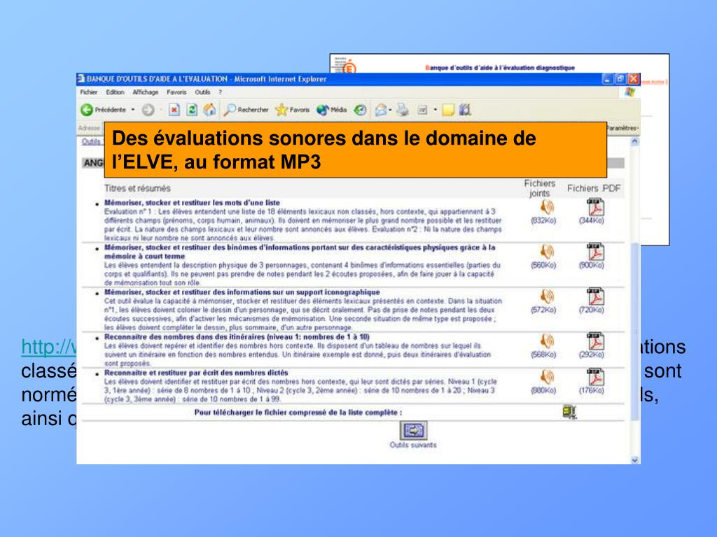 Des évaluations sonores dans le domaine de l'ELVE, au format MP3