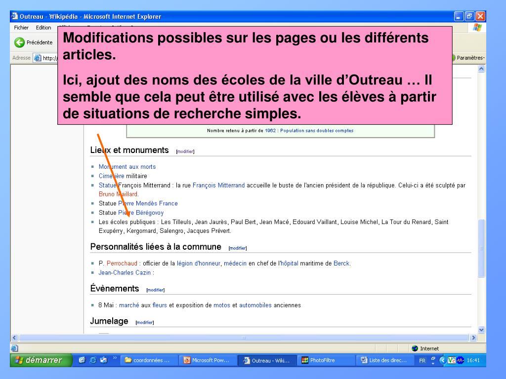Modifications possibles sur les pages ou les différents articles.
