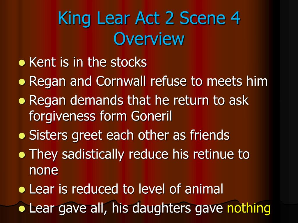 King Lear Act 2 Scene 4  Overview