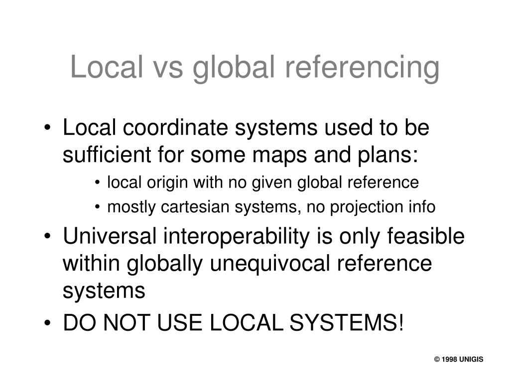 Local vs global referencing