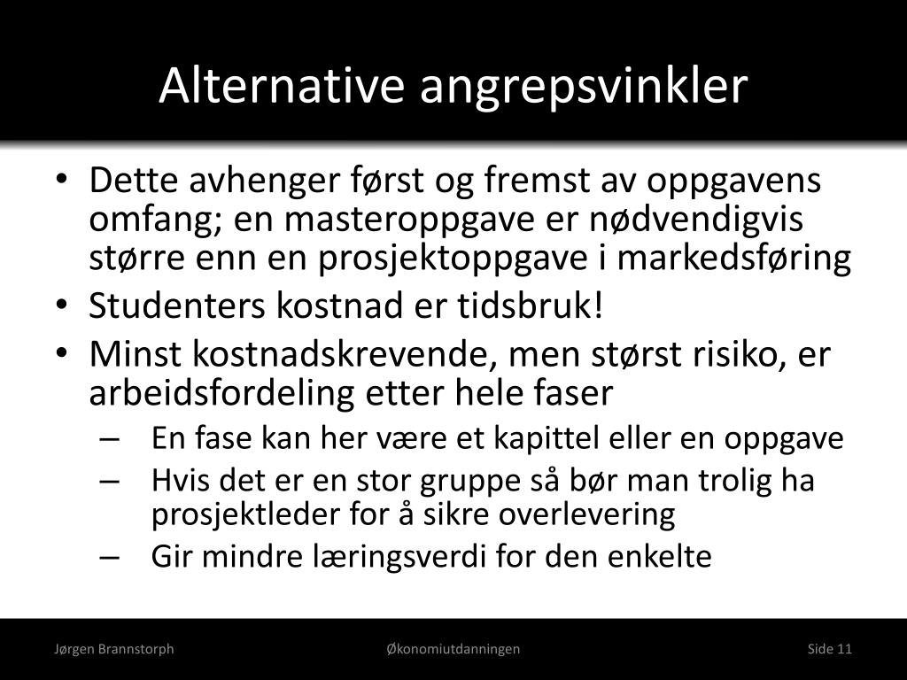 Alternative angrepsvinkler