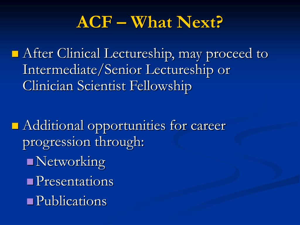 ACF – What Next?