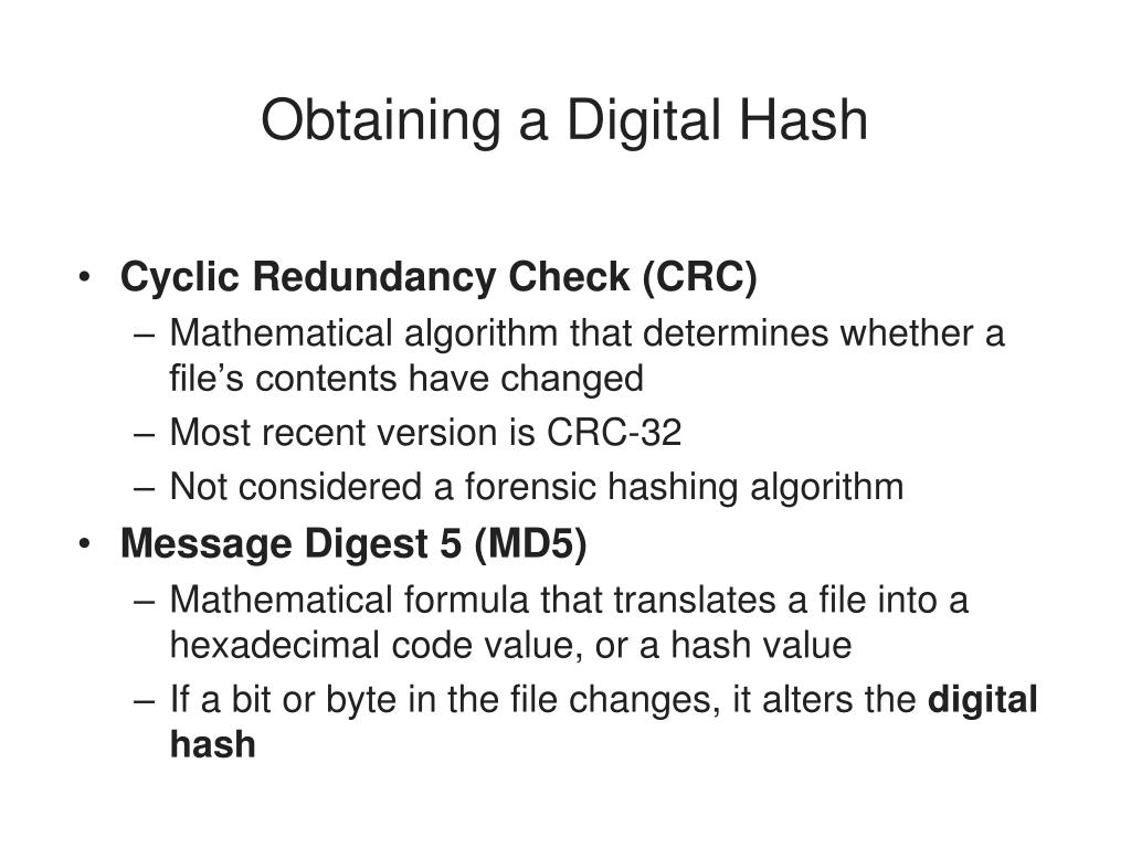 Obtaining a Digital Hash
