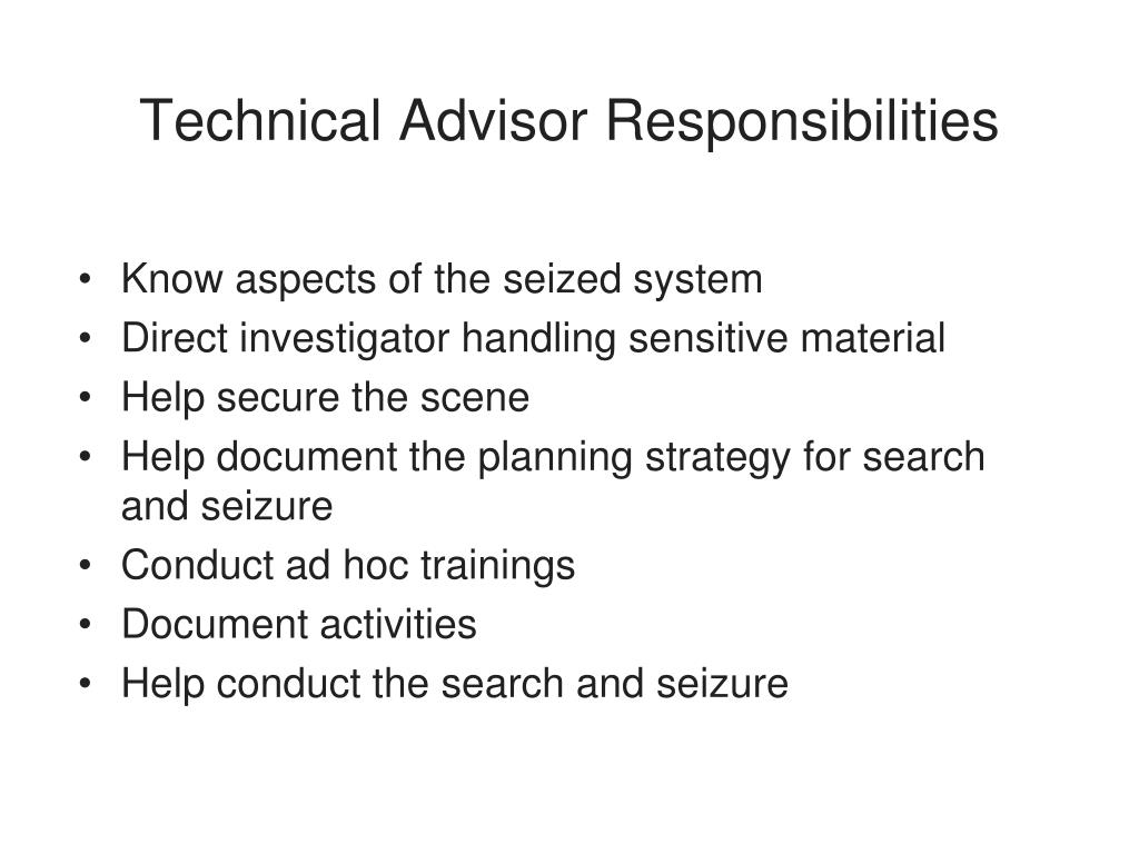 Technical Advisor Responsibilities