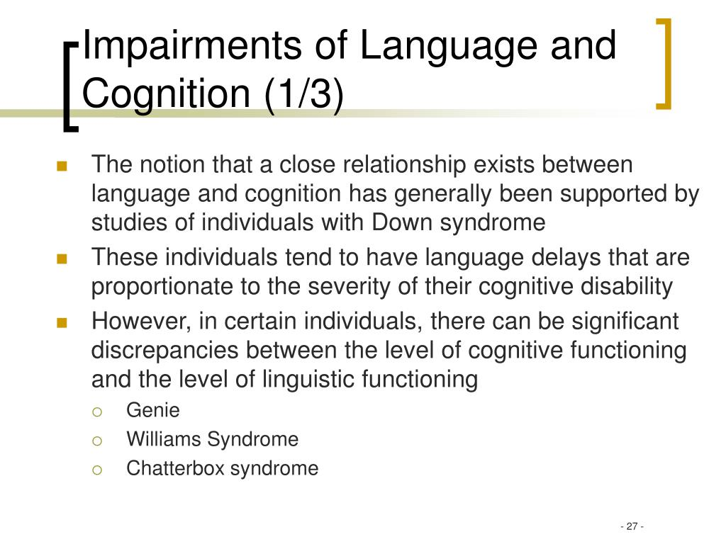 Impairments of Language and Cognition (1/3)