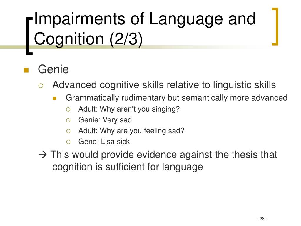 Impairments of Language and Cognition (2/3)
