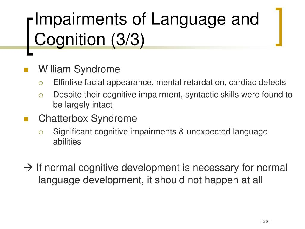 Impairments of Language and Cognition (3/3)