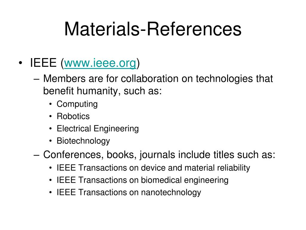 Materials-References