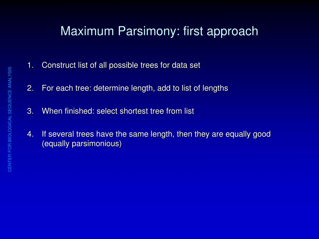 Maximum Parsimony: first approach