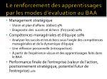 le renforcement des apprentissages par les modes d valuation au baa