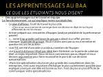 les apprentissages au baa ce que les tudiants nous disent30