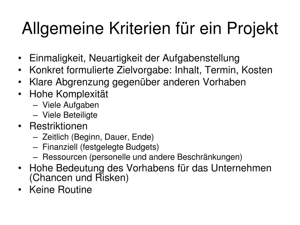 Allgemeine Kriterien für ein Projekt