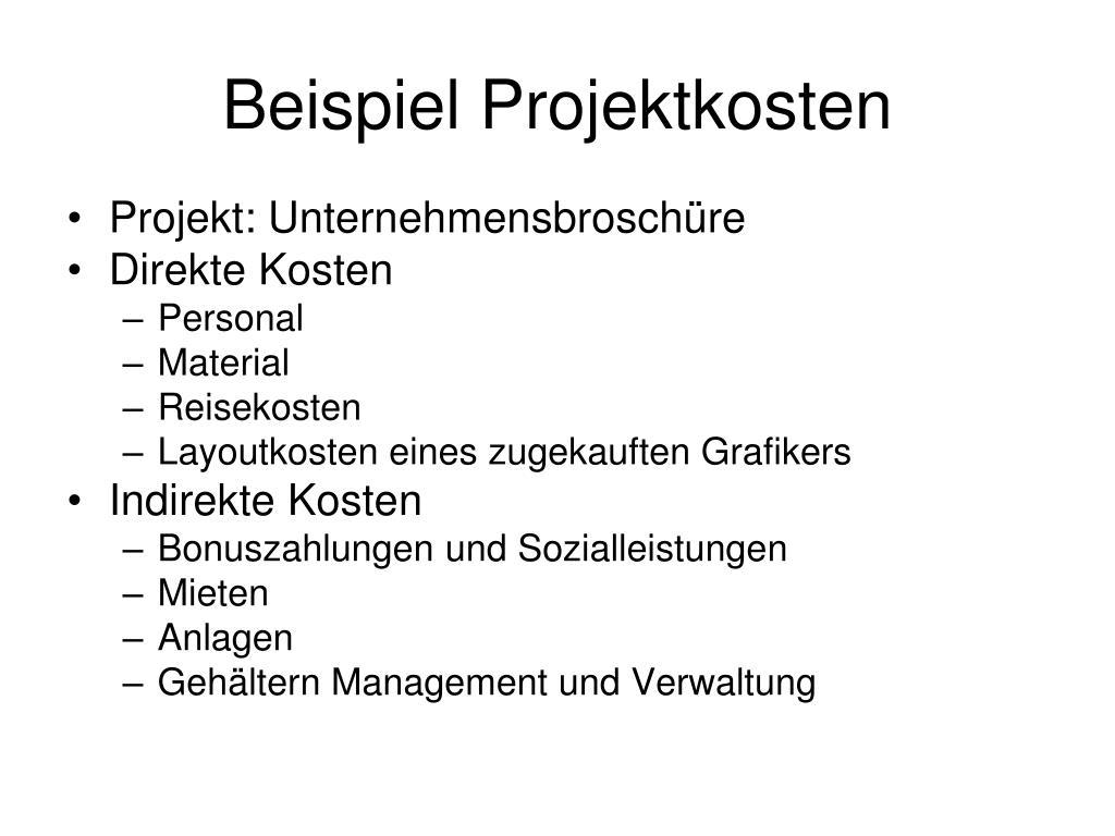 Beispiel Projektkosten