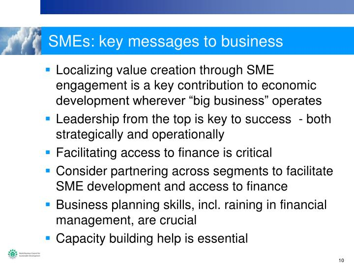 SMEs: key messages to business