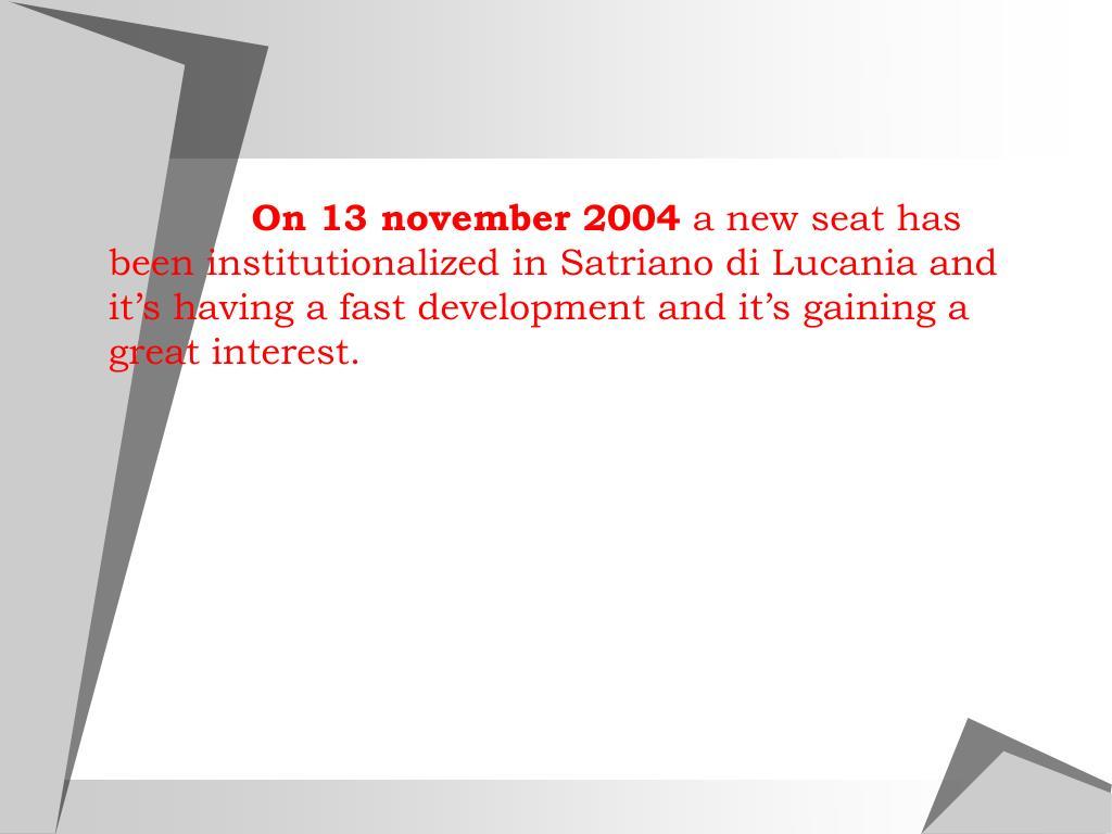On 13 november 2004