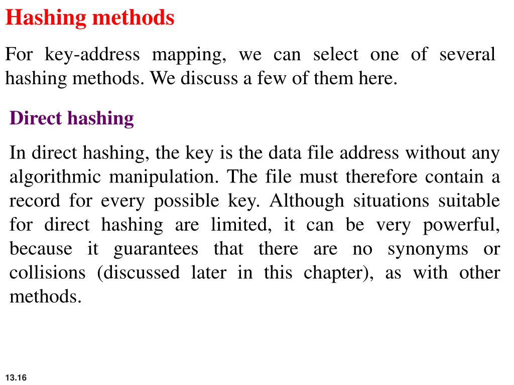 Hashing methods