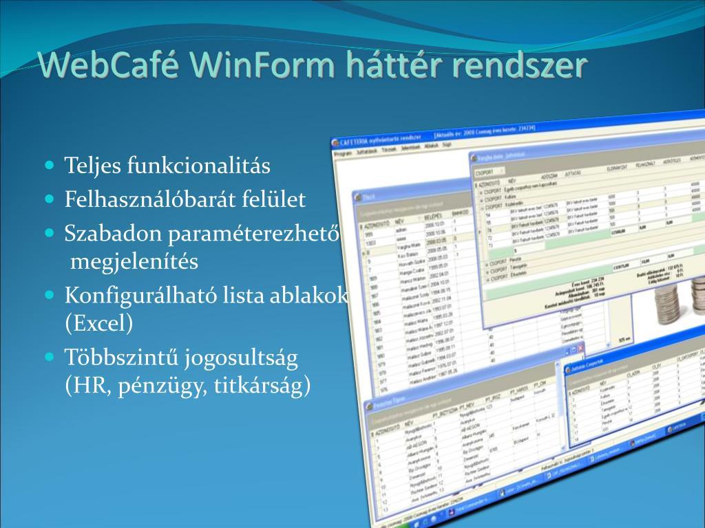 WebCafé WinForm háttér rendszer