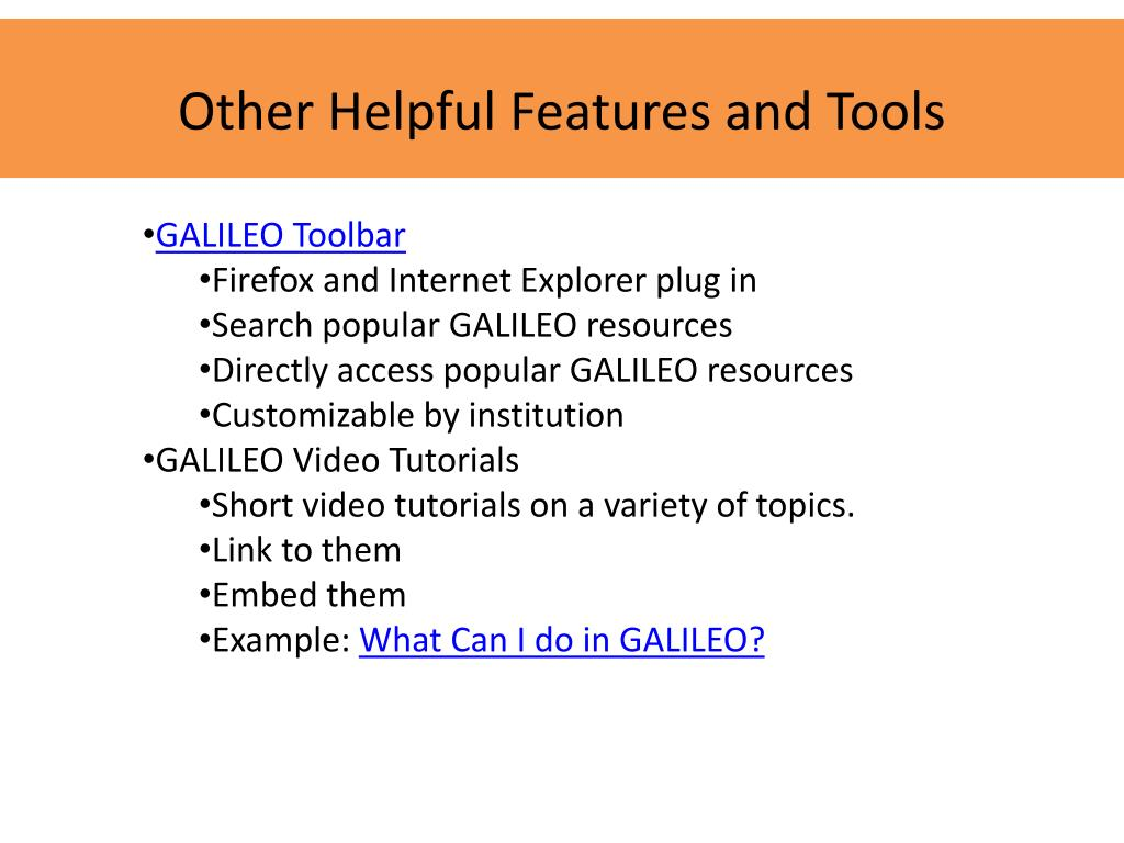 Other Helpful Features and Tools