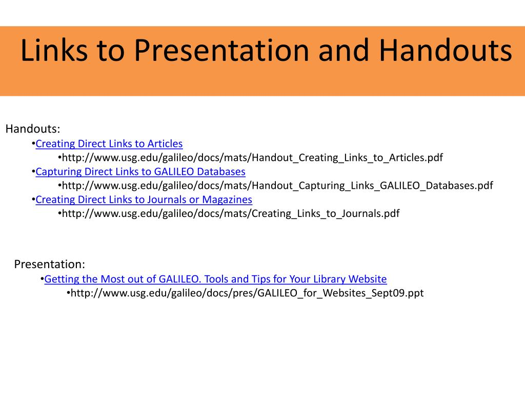 Links to Presentation and Handouts