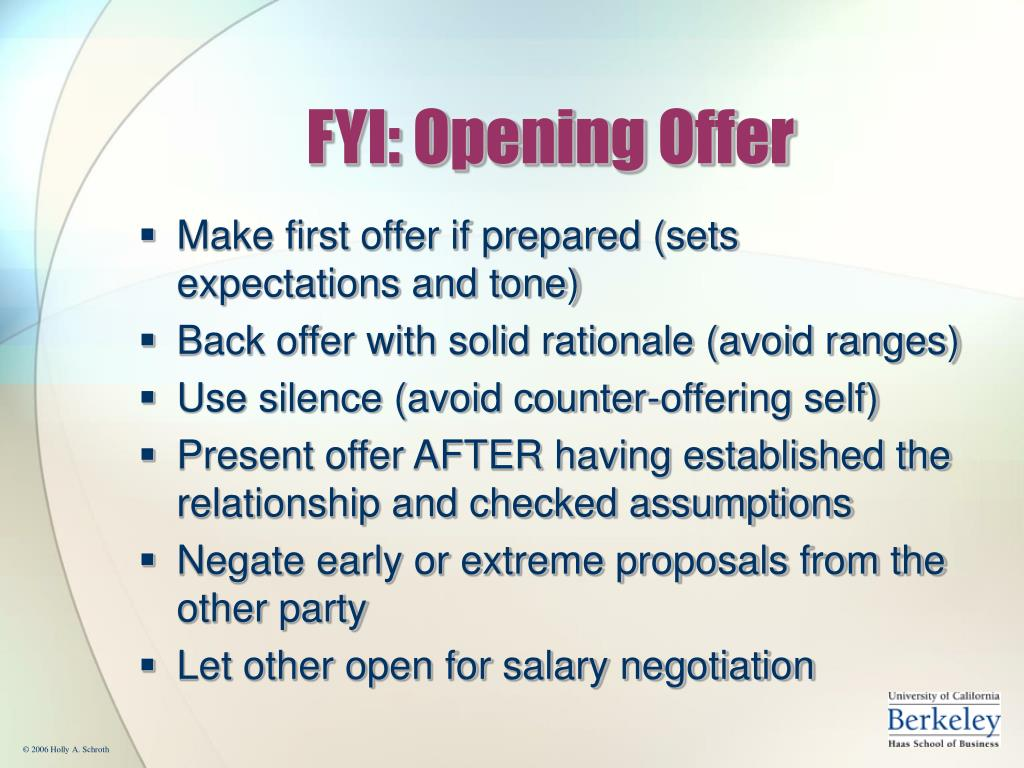FYI: Opening Offer
