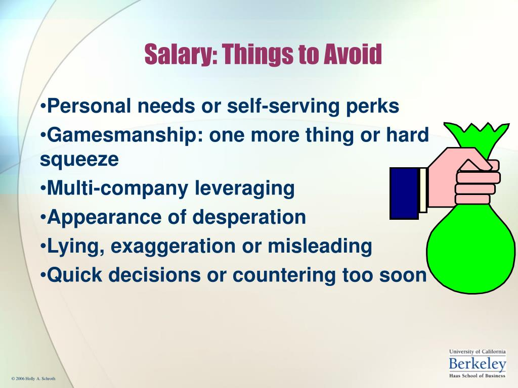 Salary: Things to Avoid