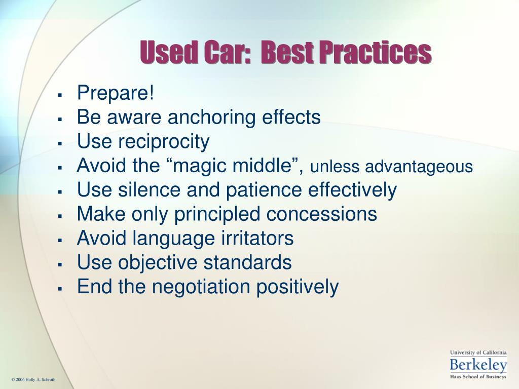 Used Car:  Best Practices