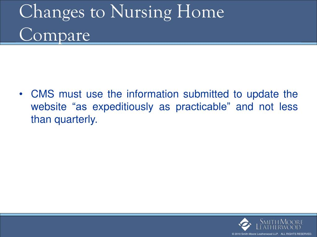 Changes to Nursing Home Compare