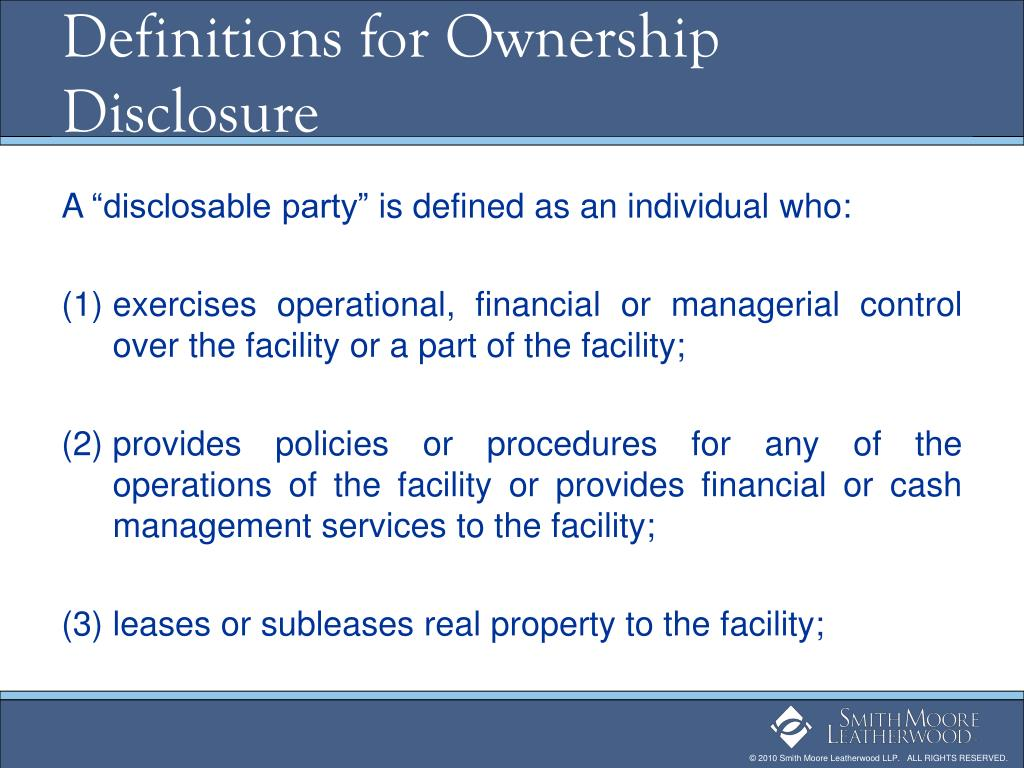 Definitions for Ownership Disclosure