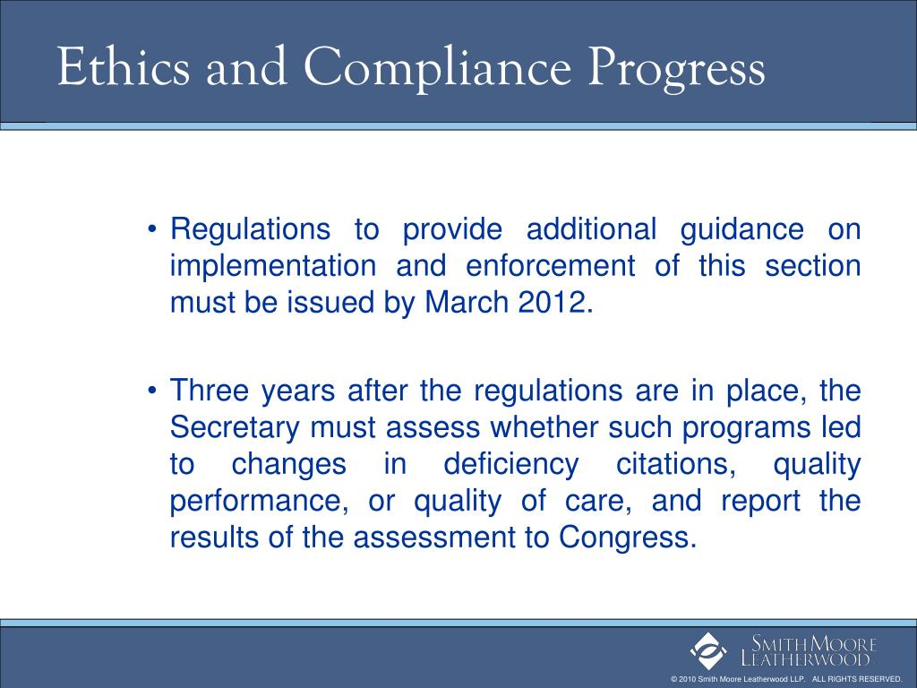 Ethics and Compliance Progress