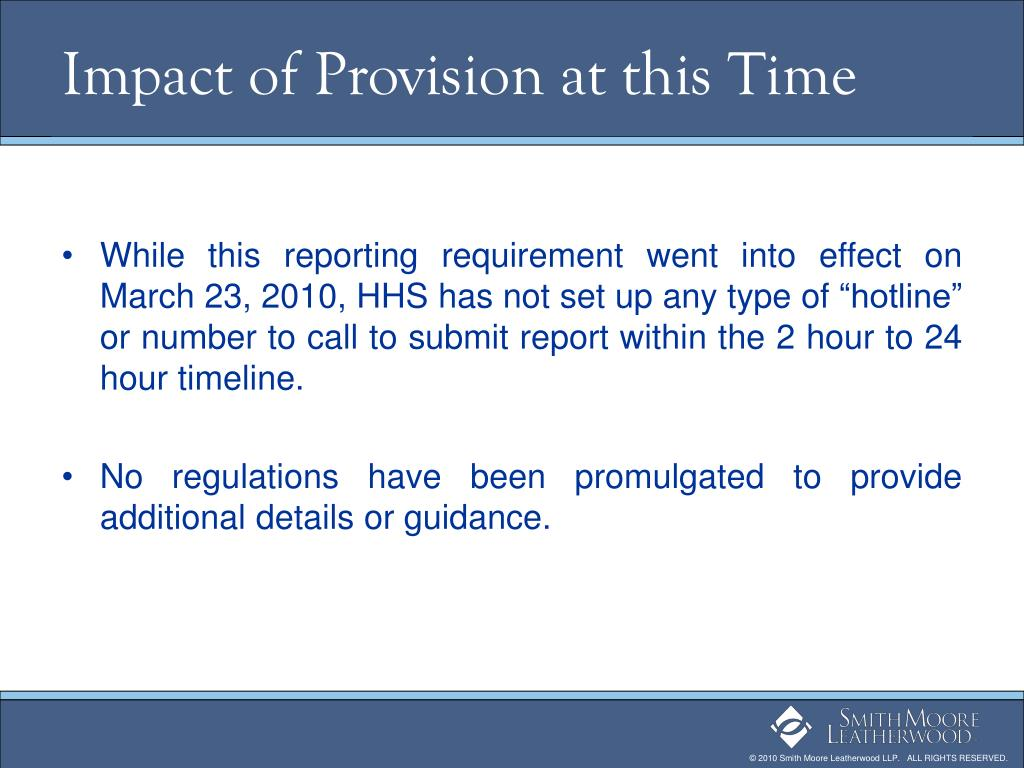 Impact of Provision at this Time