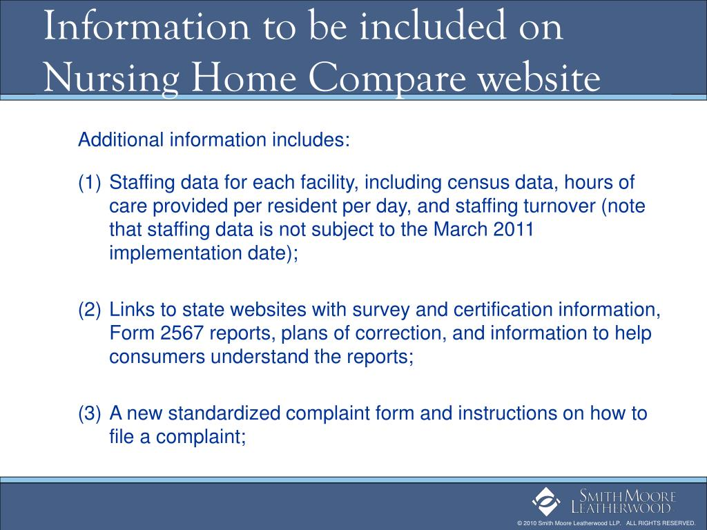 Information to be included on Nursing Home Compare website