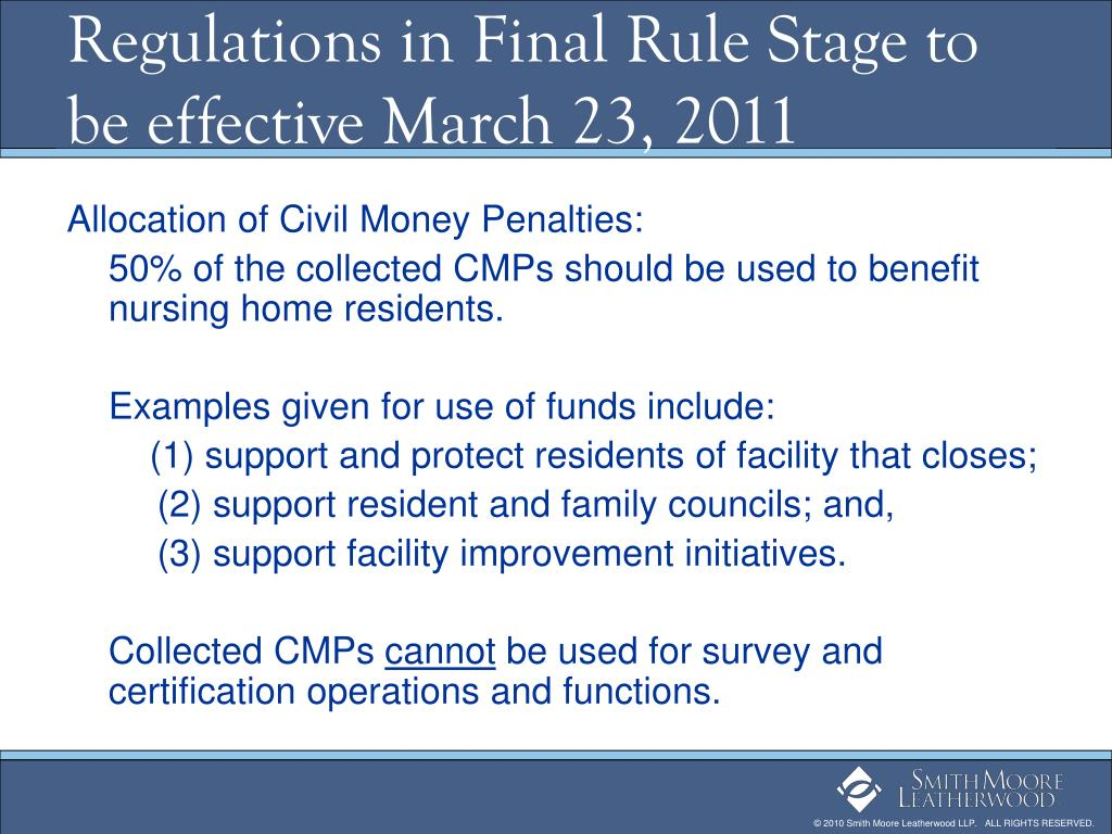 Regulations in Final Rule Stage to be effective March 23, 2011