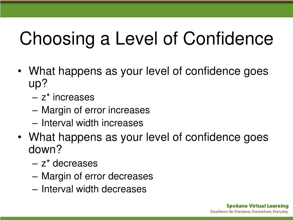 Choosing a Level of Confidence
