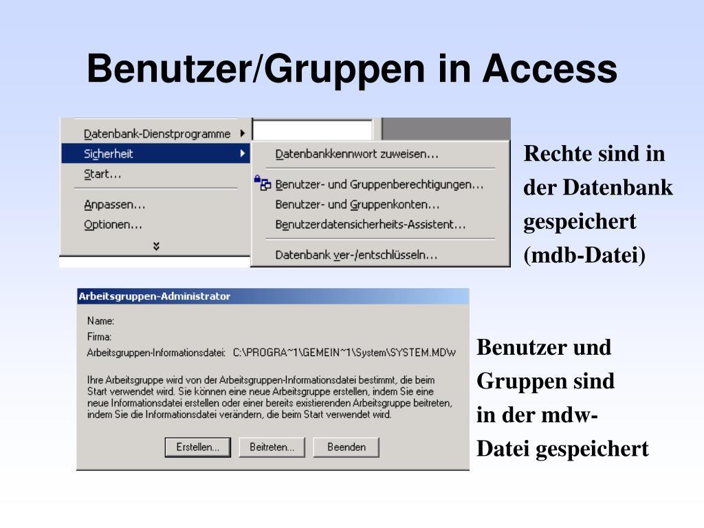Benutzer/Gruppen in Access