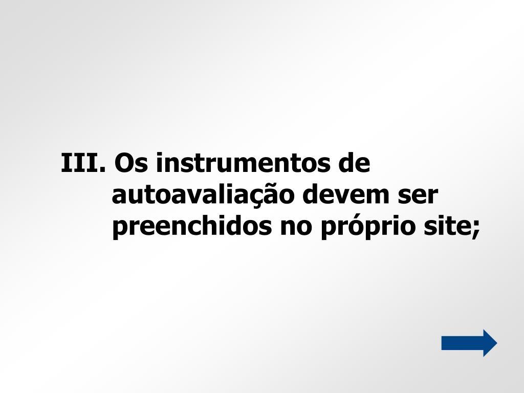 III. Os instrumentos de autoavaliação devem ser preenchidos no próprio site;