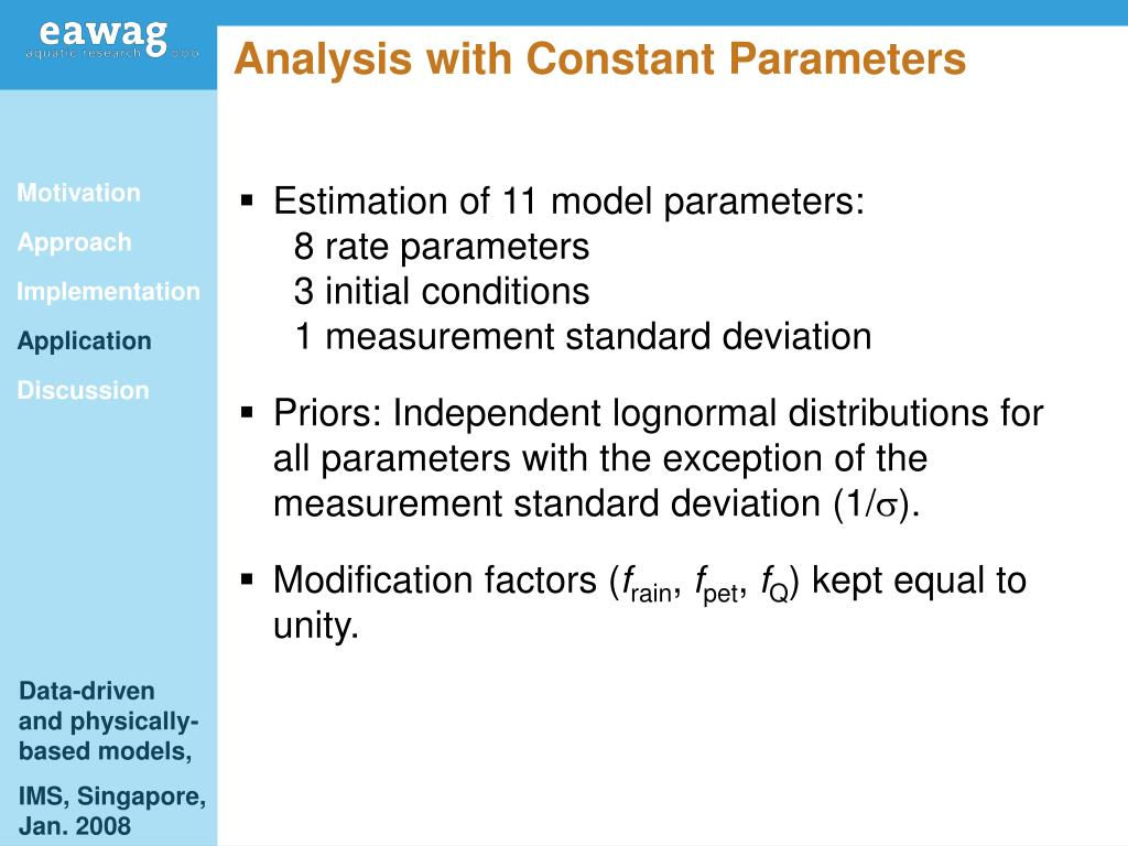 Analysis with Constant Parameters