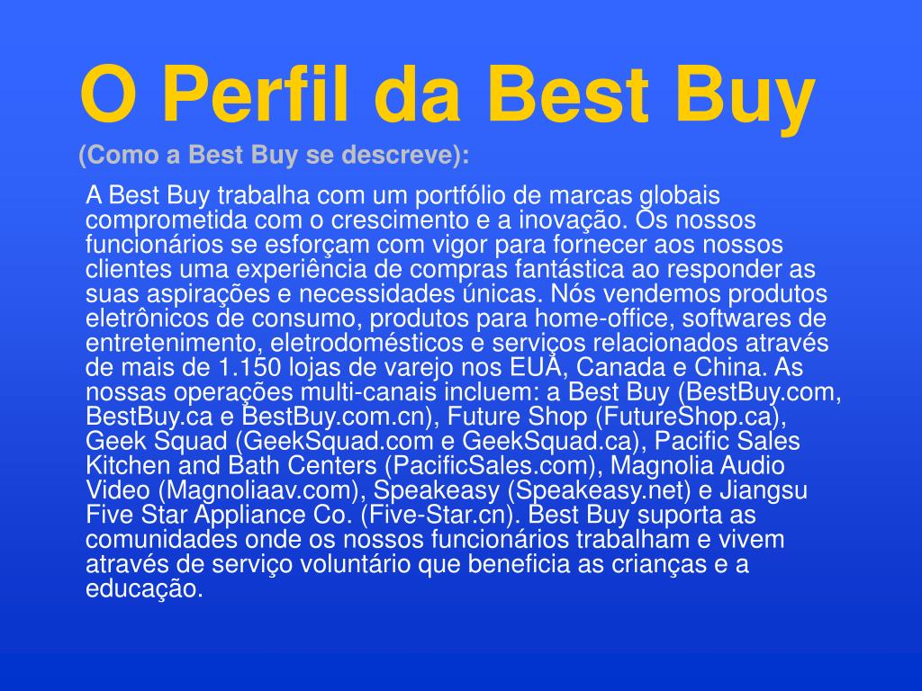 O Perfil da Best Buy