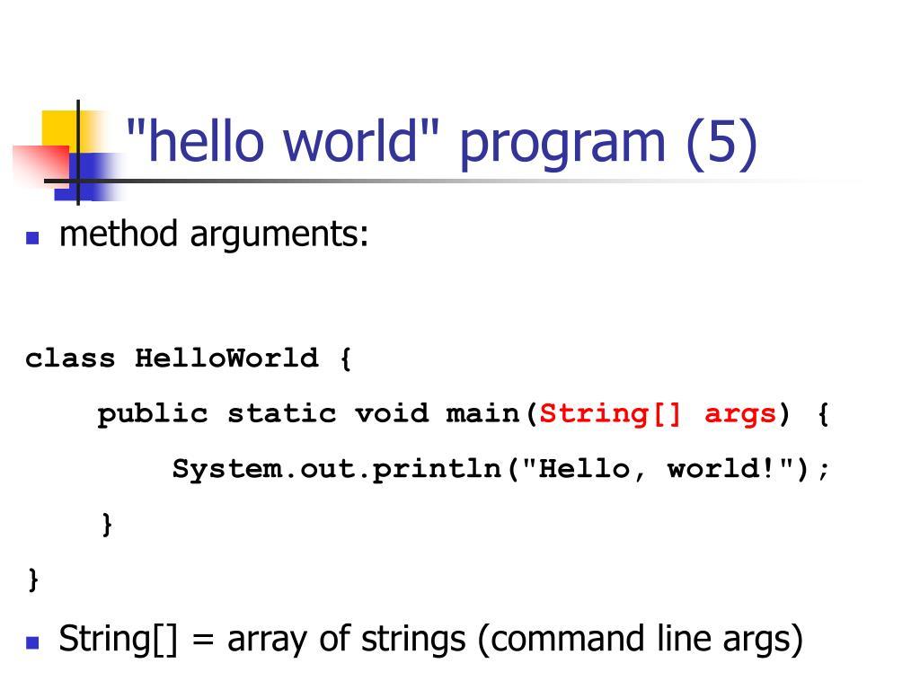 """hello world"" program (5)"