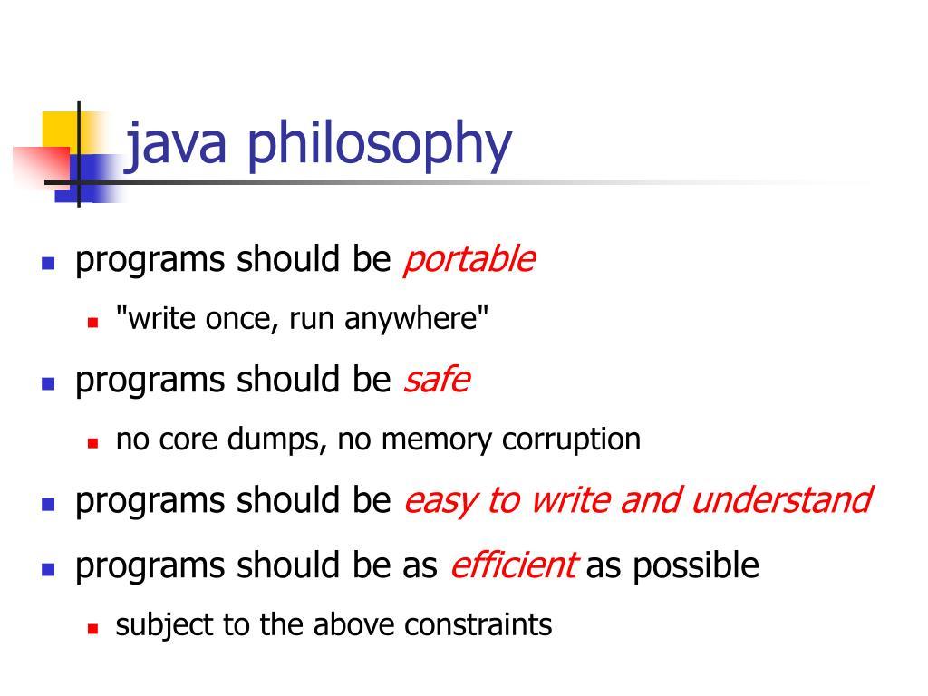 java philosophy