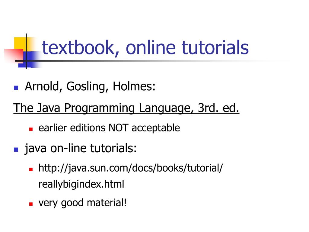 textbook, online tutorials
