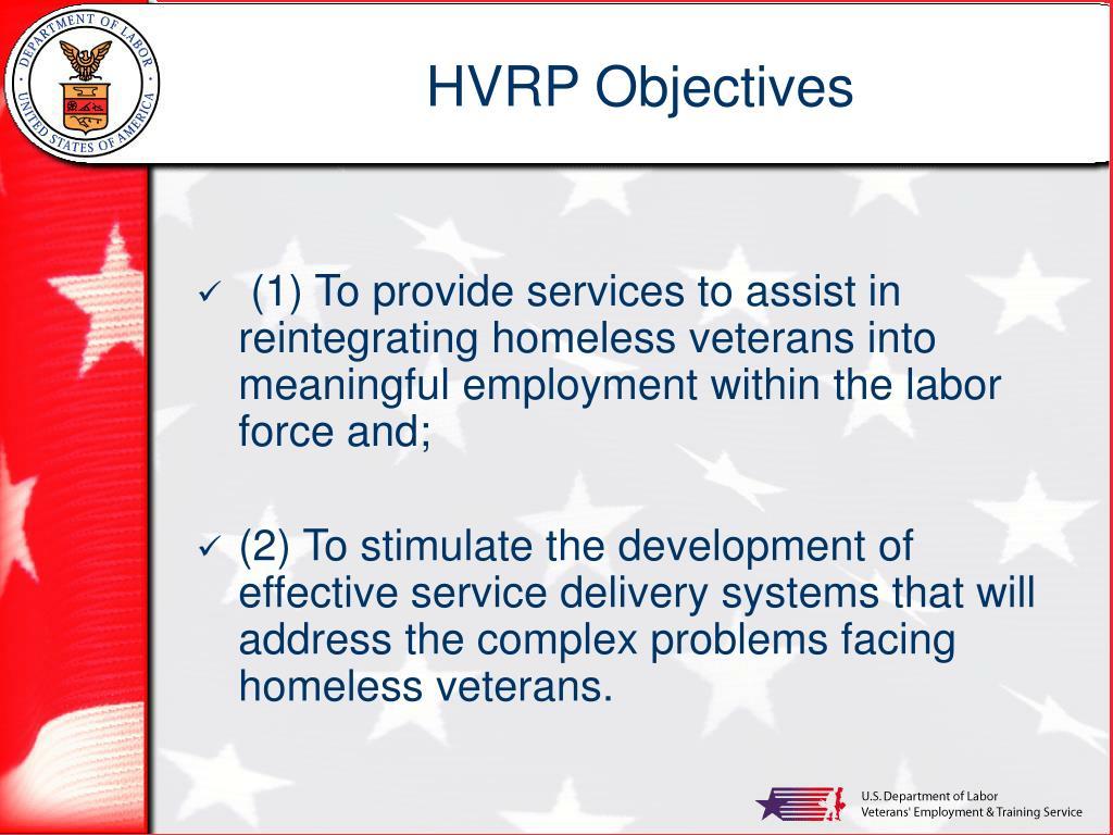 HVRP Objectives