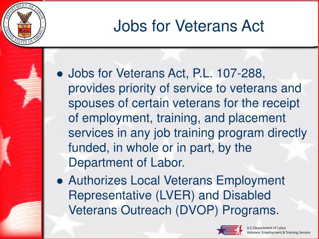 Jobs for Veterans Act