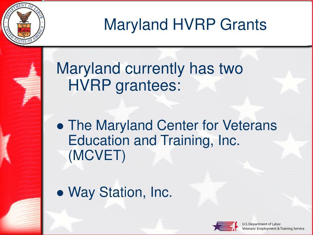 Maryland HVRP Grants
