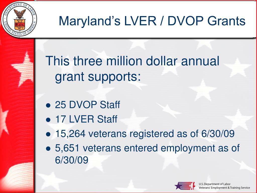 Maryland's LVER / DVOP Grants