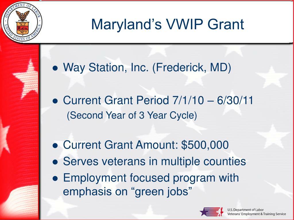 Maryland's VWIP Grant