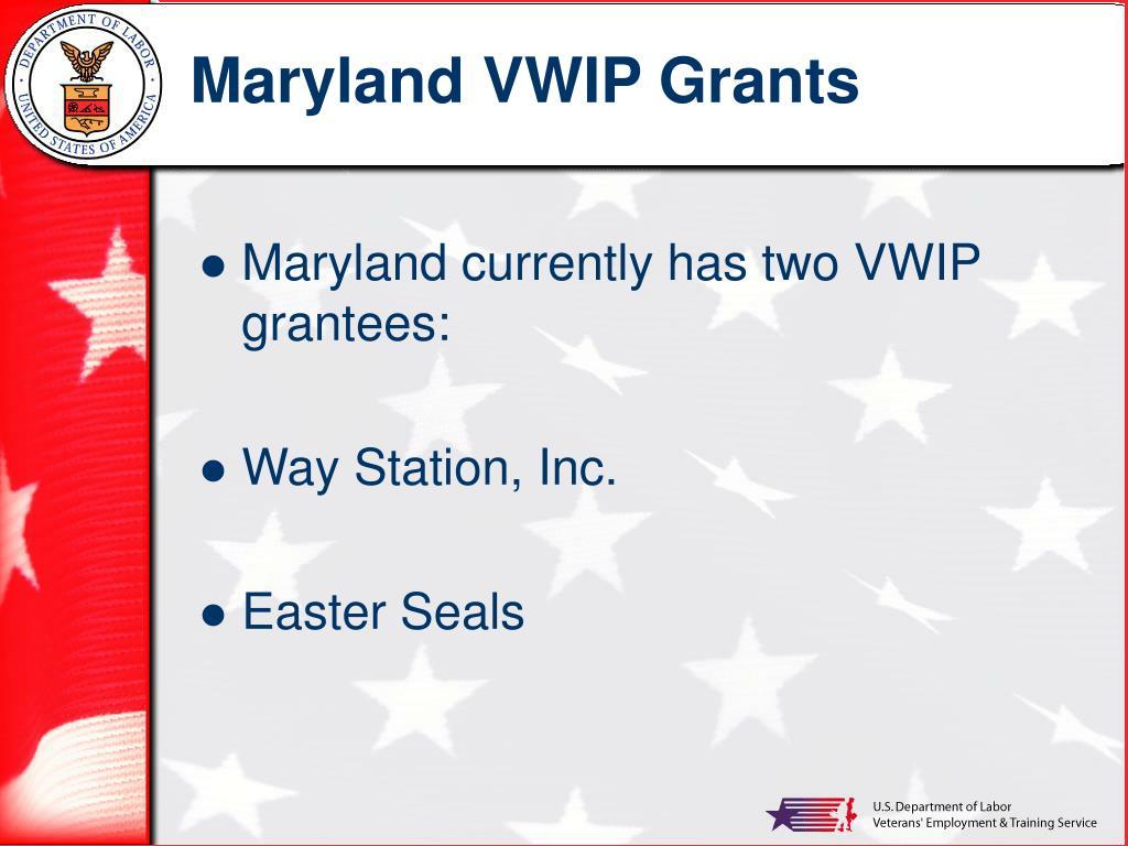 Maryland VWIP Grants