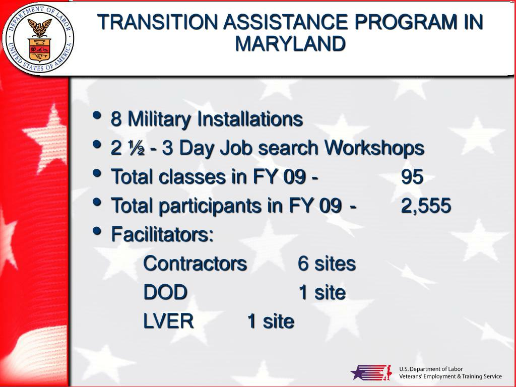 TRANSITION ASSISTANCE PROGRAM IN MARYLAND